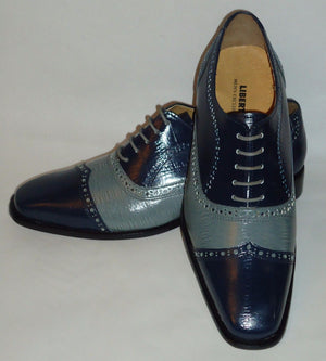 Mens Awesome Stand Out Navy Gray Wing Tip Dress Shoes Liberty LS1047 - Nader Fashion Las Vegas
