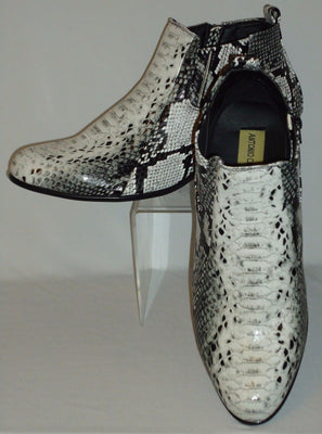 Mens Stylish Black White Simulated Snake Cuban Heel Boots Antonio Cerrelli 5159 - Nader Fashion Las Vegas
