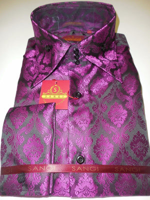 Mens Black Magenta Purple Regal Fashion High Collar French Cuff Shirt SANGI 1013 - Nader Fashion Las Vegas