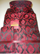 Mens Black Red Damask High Nehru Collar Collarless Shirt SANGI Style 1002 - Nader Fashion Las Vegas