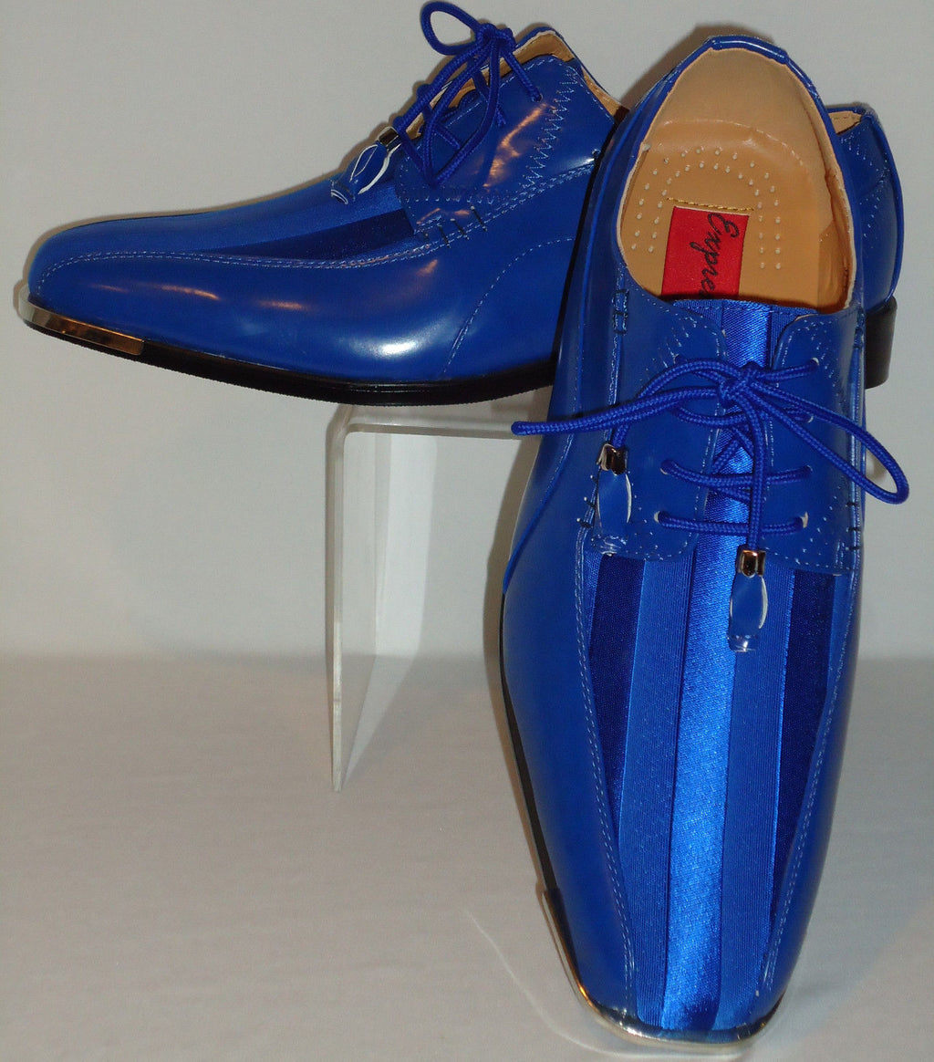 Mens Royal Blue Elegance Satin Stripe Silvertip Tux Dress Shoes Expressions 4925 - Nader Fashion Las Vegas