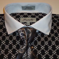 Mens Sharp Black White French Cuff 100% Cotton Dress Shirt Fratello FRV4126 - Nader Fashion Las Vegas
