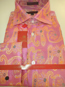 Mens Pink & Peach Tapestry Paisley Spread High Collar Leonardi Shirt Style 379 - Nader Fashion Las Vegas