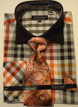 Mens Black-Multi Big Plaid French Cuff Dress Shirt + Paisley Tie Avanti DN60M - Nader Fashion Las Vegas