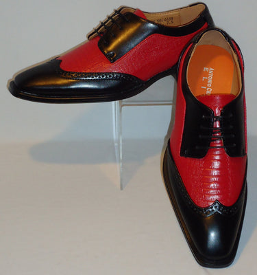 Mens Vintage Black & Red Wing Tip Look Dress Shoes Antonio Cerrelli 6608 - Nader Fashion Las Vegas
