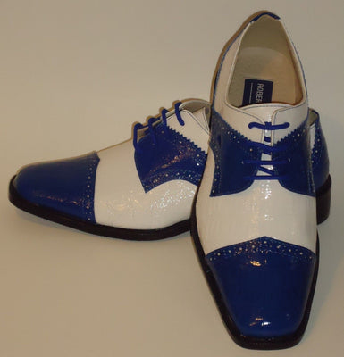 Mens Old School Royal Blue White Croco Look Dress Shoes Roberto Chillini 6744 - Nader Fashion Las Vegas