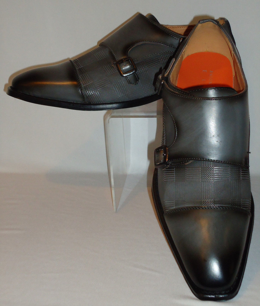 Mens Gray Double Buckle & Hounds Tooth Dress Loafers Shoes Antonio Cerrelli 6670 - Nader Fashion Las Vegas