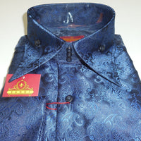 Mens Gorgeous Navy Blue Rococo Fashion High Collar French Cuff Shirt SANGI 1025 - Nader Fashion Las Vegas