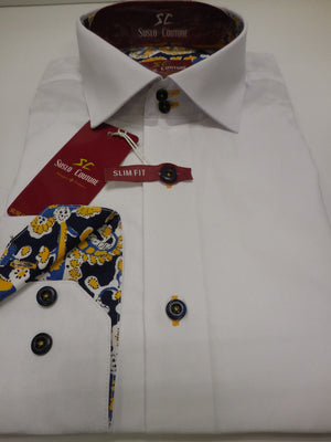Mens White Cotton Fitted Fashion Shirt w/Blue Paisley Details Suslo Couture M24
