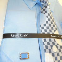 Mens Light Blue Collar Bar French Cuff Dress Shirt Jacquard Tie & Hanky Set 4362 - Nader Fashion Las Vegas