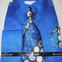 Mens Royal Blue Silver Collar Bar French Cuff Dress Shirt + Tie Karl Knox 4367 - Nader Fashion Las Vegas