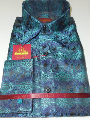 Mens Black Teal Blue Paisley Brocade High Collar Cuffed Fashion Shirt SANGI 1040 - Nader Fashion Las Vegas
