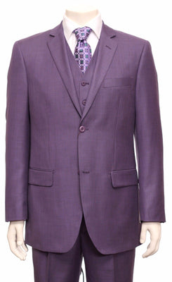 Mens Most Elegant Purple Shimmer Shark Skin Fabric 3 Piece Vested Suit - Nader Fashion Las Vegas