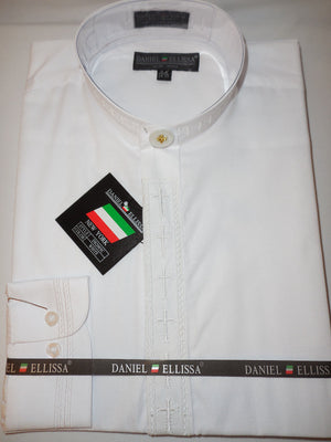 Mens Mandarin Collarless Shirt All White Cross Design Dress Shirt DS2005C - Nader Fashion Las Vegas