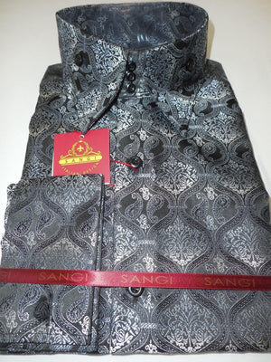 Mens Black Gray Paisley Brocade High Collar Cuffed Designer Shirt SANGI 1038 - Nader Fashion Las Vegas