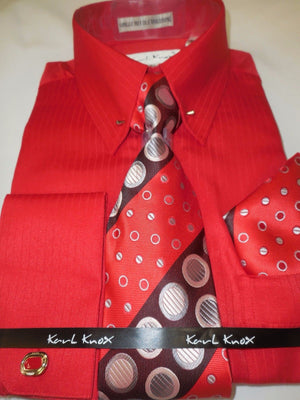 Mens Bright Red Tone on Tone Stripe Fancy Collar Bar Dress Shirt Karl Knox 4367 - Nader Fashion Las Vegas