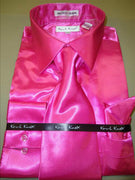 Mens Karl Knox Shiny Fuchsia Hot Pink Silky Satin Formal Dress Shirt Tie & Hanky - Nader Fashion Las Vegas