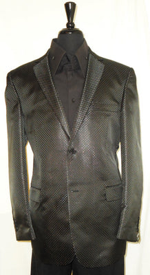 Mens Elegant Jet Black Sparkly Fancy Dinner Jacket by Leonardi Style 911 - Nader Fashion Las Vegas