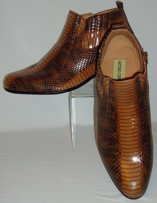 Mens Elegant Brown Exotic Snake Look High Heel Boots Antonio Cerrelli 5159 - Nader Fashion Las Vegas