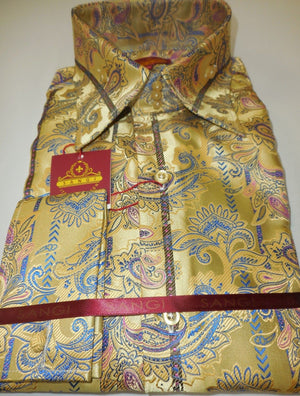 Mens Yellow Golden Sheen Paisley Flourish High Collar Cuffed Shirt SANGI 1035