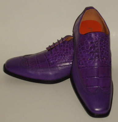 Mens Classic Purple Wingtip Oxford Fashion Dress Shoes Antonio Cerrelli 6714 - Nader Fashion Las Vegas