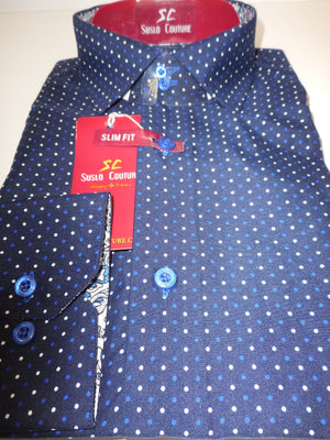 Mens Blue Tiny Polka Dot & Cool Paisley Cuff Modern Fit Shirt Suslo Couture M22 - Nader Fashion Las Vegas