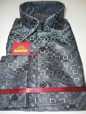 Mens Black Silver Paisley Cube High Collar French Cuff Designer Shirt SANGI 1032 - Nader Fashion Las Vegas