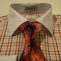 Mens Red Plaid Dress Shirt with White French Cuff + Collar Daniel Ellissa DS3765 - Nader Fashion Las Vegas