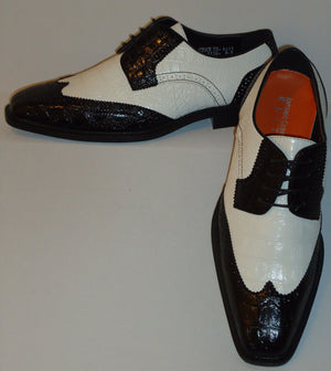 Mens Black & White Traditional Wingtip Look Dress Shoes Antonio Cerrelli 6431 - Nader Fashion Las Vegas
