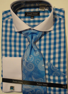 Mens Turquoise White Gingham Spread Collar Cuffed Dress Shirt Avanti DN46M - Nader Fashion Las Vegas