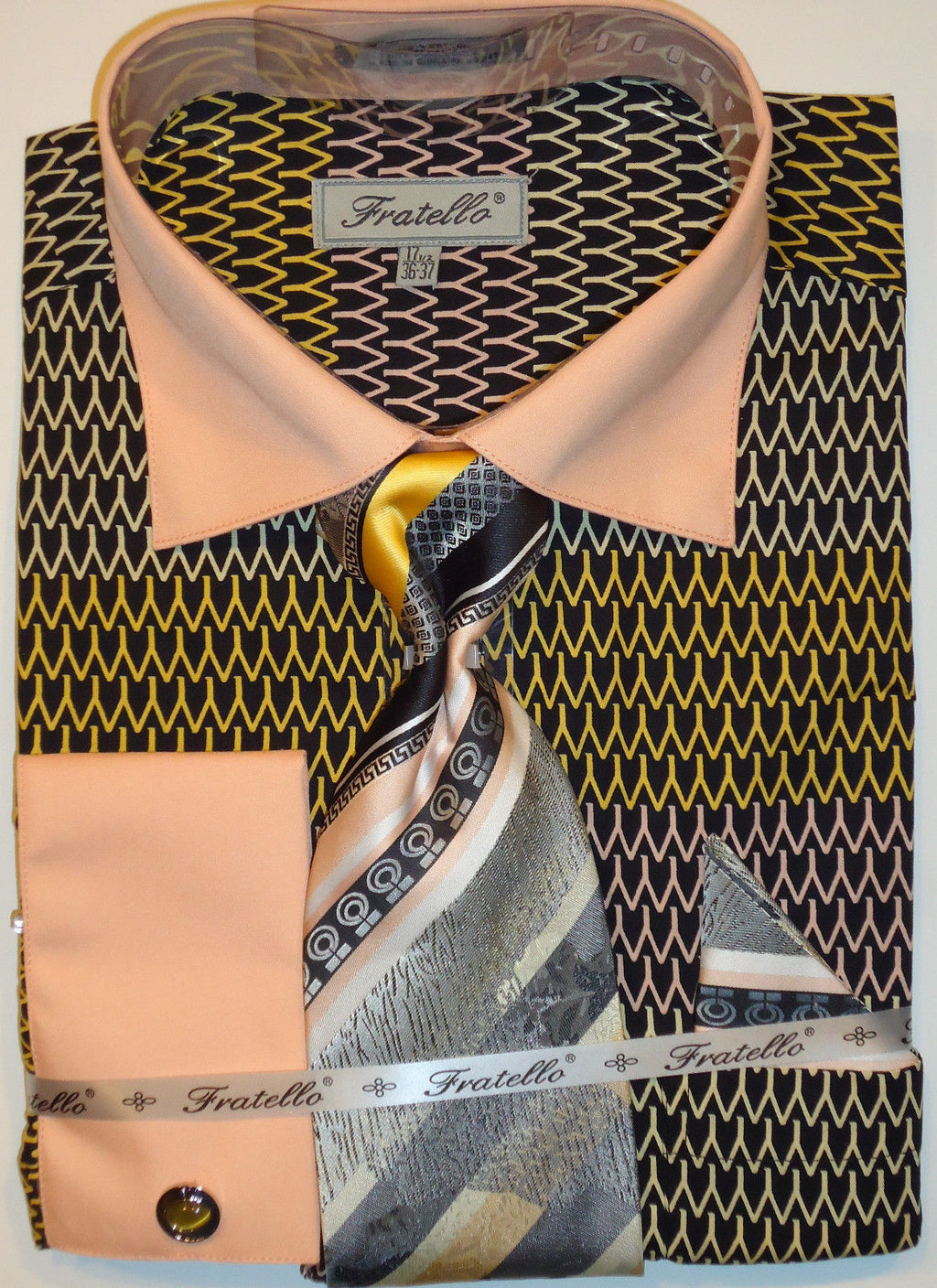 Mens Graphic Black Gold Peach Dress Shirt & Tie w/ Double Cuffs Fratello FRV4127 - Nader Fashion Las Vegas