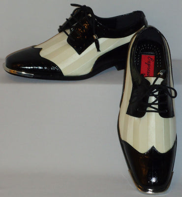 Mens Superbly Elegant Black & White Satin Fancy Dress Shoes Expressions 6345 - Nader Fashion Las Vegas
