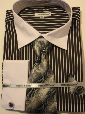 Mens Sophisticated 2-Tone Black Striped Cuffed Dress Shirt Daniel Ellissa DS3764 - Nader Fashion Las Vegas