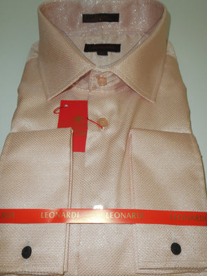 Mens Sophisticated Pink Blush Sparkle French Cuff Leonardi Shirt Style 450 - Nader Fashion Las Vegas