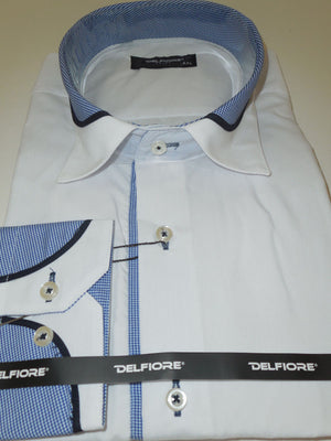Mens Awesome White Clubbing Shirt w/ Cool Blue Cuff & Collar Del Fiore 33/02 - Nader Fashion Las Vegas
