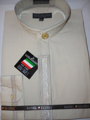 Mens No-Collar Nehru Dress Shirt Taupe Khaki Metallic Thread Embroidered DS3113C - Nader Fashion Las Vegas