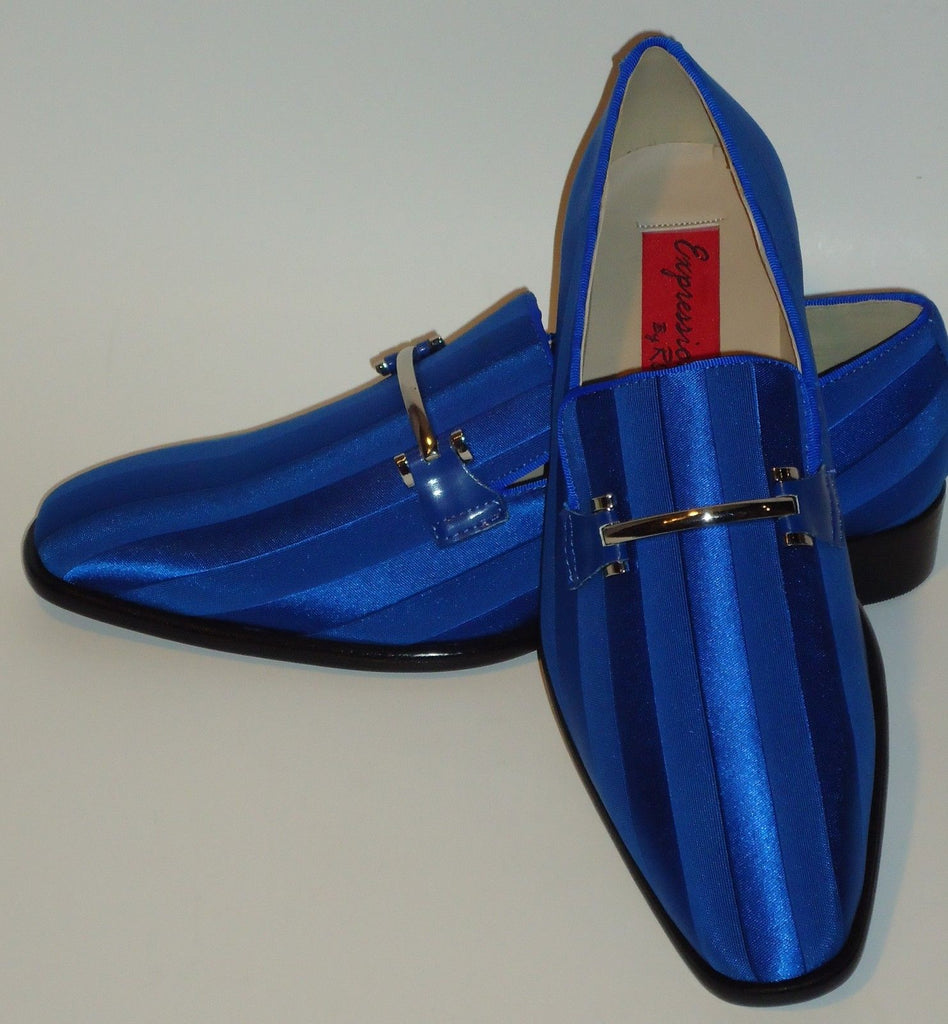 Mens Classy Royal Blue Satin Stripe Tux Dress Loafers