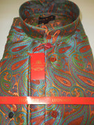 Mens Leonardi Collarless French Cuff Shirt Rich Green & Shiny Bronze Style 356 - Nader Fashion Las Vegas