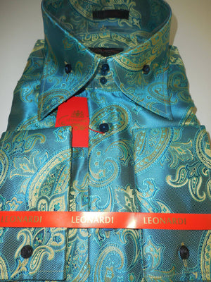 Mens Gorgeous Teal Watercolor Paisley Tall Collar Shirt Leonardi Style 440 - Nader Fashion Las Vegas