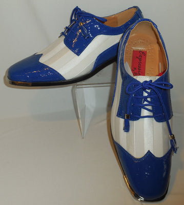 Mens Royal Blue Croc-Look & White Satin Silvertip Dress Shoes Expressions 6345 - Nader Fashion Las Vegas