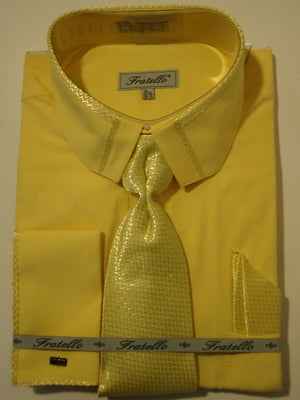 Mens Canary Yellow Cropped Collar French Cuff Dress Shirt + Tie Fratello DS3733 - Nader Fashion Las Vegas
