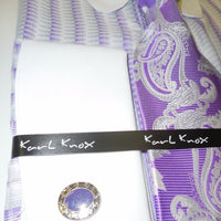 Mens Lavender White Stripe Eyelet Collar French Cuff Dress Shirt Karl Knox 4354 - Nader Fashion Las Vegas