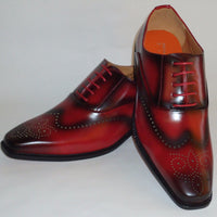 Mens Handsome Red Distressed Black Wingtip Dress Shoes Antonio Cerrelli 6672 - Nader Fashion Las Vegas