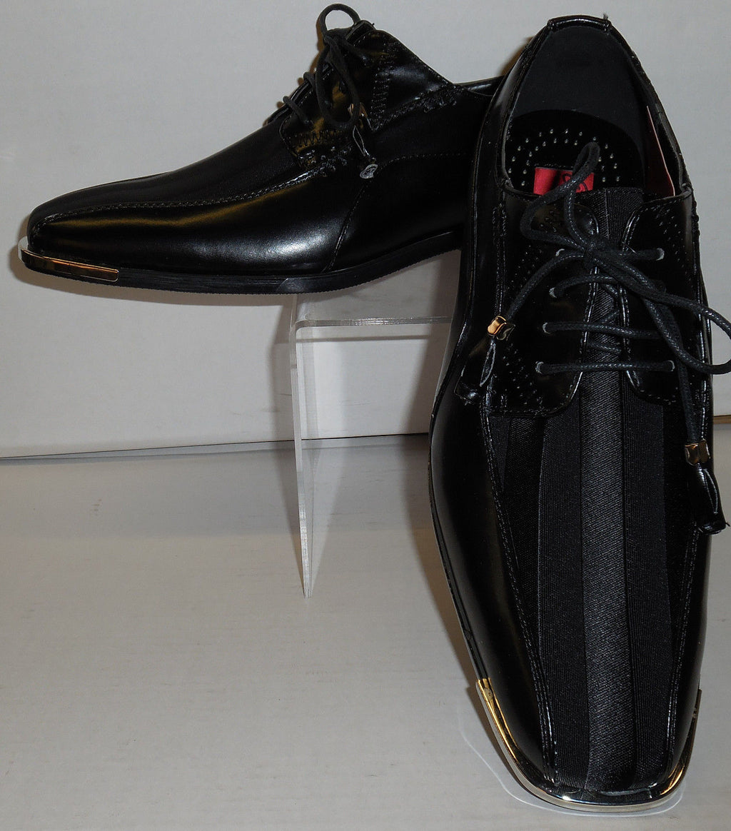 Mens Elegant Formal Black Satin Stripe Silvertip Dress Shoes Expressions 4925 - Nader Fashion Las Vegas
