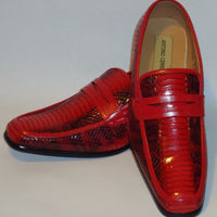 Mens Sophisticated Red Snake Look Dress Loafers Shoes Antonio Cerrelli 6494 - Nader Fashion Las Vegas