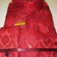 Mens Red Shimmery Damask High Nehru Collar Collarless Shirt SANGI Style 1003 - Nader Fashion Las Vegas