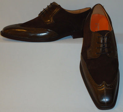 Mens Brown Faux Suede & Leather Wingtip Combo Dress Shoes Antonio Cerrelli 6391 - Nader Fashion Las Vegas