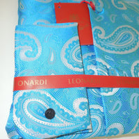 Mens Beautiful Turquoise Paisley Spread Collar Cuffed Leonardi Shirt Style 370 - Nader Fashion Las Vegas