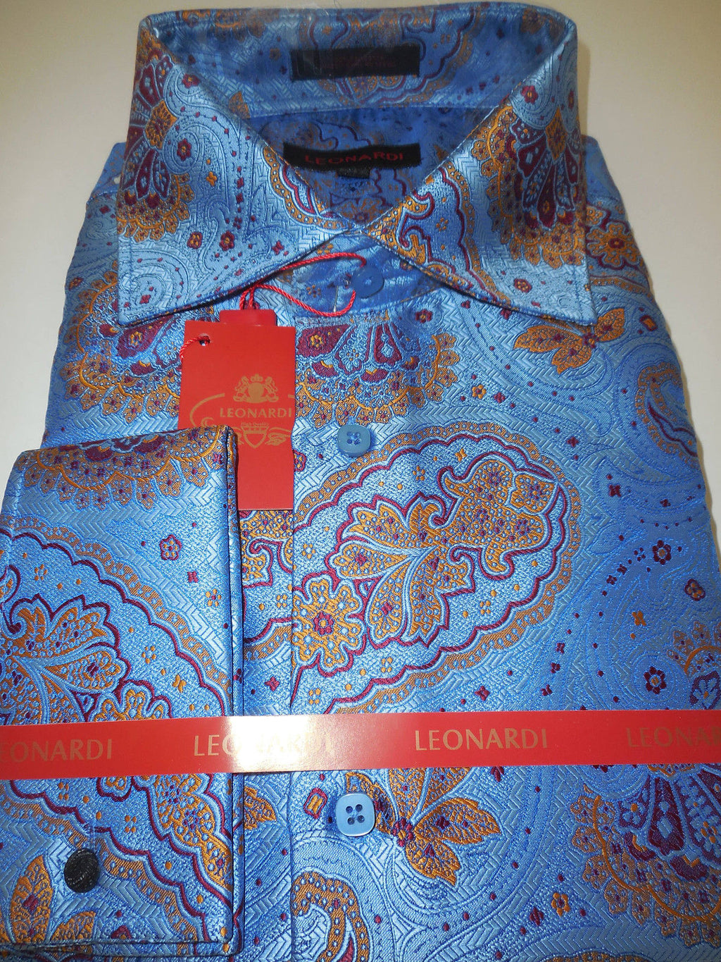 Mens Gorgeous Periwinkle Blue Leonardi Cool Paisley French Cuff Shirt Style 399 - Nader Fashion Las Vegas