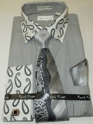 Mens Black White Tiny Check + Paisley Cuff/Collar Dress Shirt Karl Knox 4344 - Nader Fashion Las Vegas